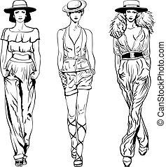 vecteur, ensemble, modèles, sommet, procès, mode, chapeaux, trouser