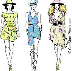 vecteur, ensemble, mode, sommet, modèles, dans, robes été, et, chapeaux