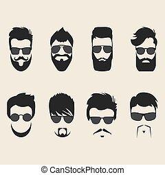 vecteur, ensemble, moustache