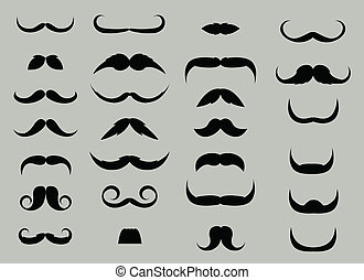 vecteur, ensemble, moustache