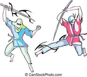 vecteur, ensemble, ninjas.