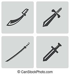 vecteur, ensemble, noir, épée, icônes