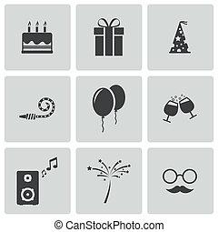 vecteur, ensemble, noir, anniversaire, icônes