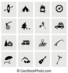 vecteur, ensemble, noir, camping, icônes