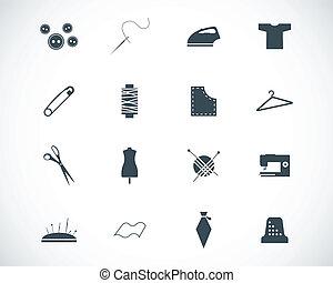 vecteur, ensemble, noir, couture, icônes