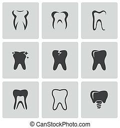 vecteur, ensemble, noir, dents, icônes