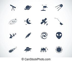 vecteur, ensemble, noir, espace, icônes