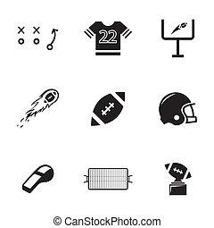 vecteur, ensemble, noir, football, icônes