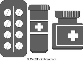 vecteur, ensemble, noir, pilules, icône