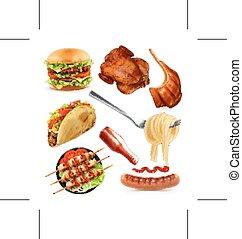 vecteur, ensemble, nourriture, jeûne, icônes