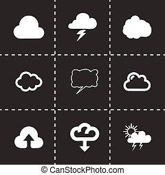 vecteur, ensemble, nuage, icône