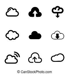 vecteur, ensemble, nuage, icônes
