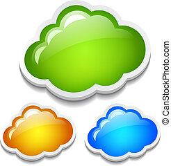 vecteur, ensemble, nuages