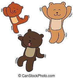 vecteur, ensemble, ours, danse