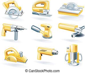vecteur, ensemble, outils, électrique, icône