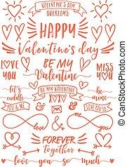 vecteur, ensemble, overlays, jour, valentine
