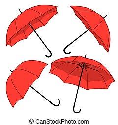 vecteur, ensemble, parapluies