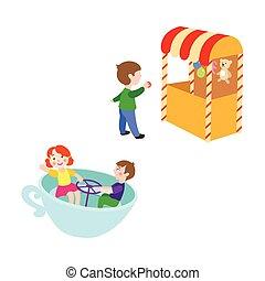 vecteur, ensemble, parc, enfants, amusement