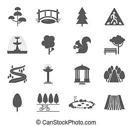 vecteur, ensemble, parc, icônes