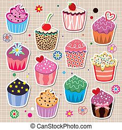 vecteur, ensemble, petits gâteaux, coloré