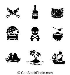 vecteur, ensemble, pirates, icônes
