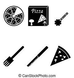 vecteur, ensemble, pizza, icônes