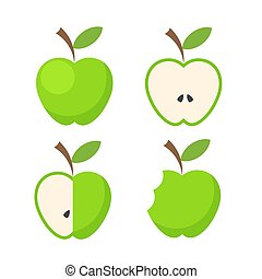 vecteur, ensemble, pomme, illustration, fruit, blanc vert, icône, stockage