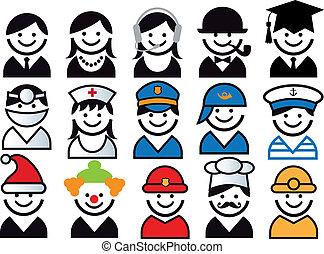 vecteur, ensemble, profession, gens, icône