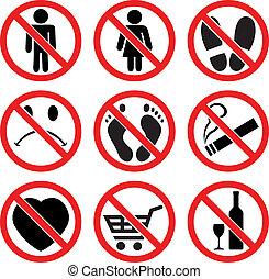 vecteur, ensemble, prohibition, signes