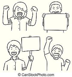 vecteur, ensemble, protestataire