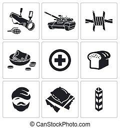 vecteur, ensemble, refugees, combat, icônes