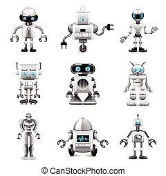 vecteur, ensemble, robots, icônes