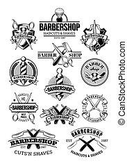 vecteur, ensemble, salon coiffure, logos, signage