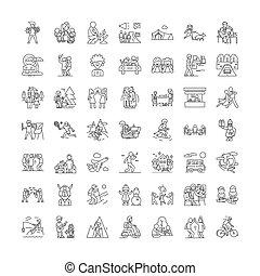 vecteur, ensemble, signes, icônes, ligne, vacances, symboles, illustration, récréation, linéaire