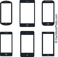 vecteur, ensemble, silhouette, tablette, variété, mobile, écran, moderne, isolé, illustration, eps, pc, smartphone, noir, arrière-plan., vide, 10., blanc, icône