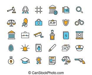 vecteur, ensemble, simple, linéaire, design., icons., ...