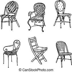 vecteur, ensemble, sketch., chairs.