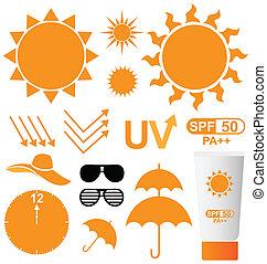 vecteur, ensemble soleil, protection uv