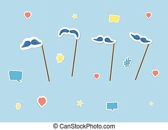 vecteur, ensemble, stickers., moustache, appui verticaux, illustration.