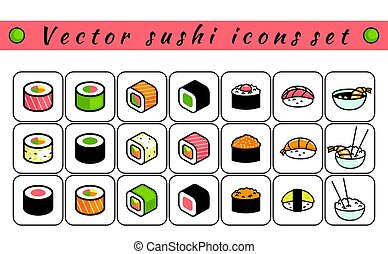 vecteur, ensemble, sushi, icônes