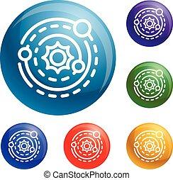 vecteur, ensemble, système, solaire, icônes