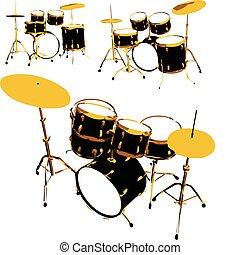 vecteur, ensemble, tambours