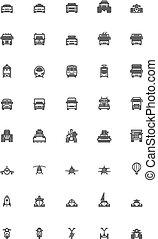 vecteur, ensemble, transport, icône