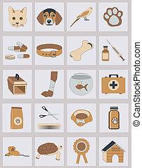 vecteur, ensemble, vétérinaire, icônes