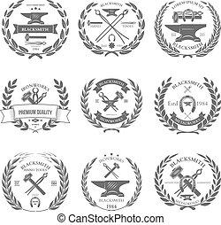 vecteur, ensemble, vendange, étiquettes, éléments, conception, forgeron