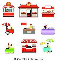 vecteur, ensemble, vendeur, nourriture, kiosque, rue, jeûne, servir, sans, illustrations, roues, sourire