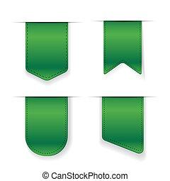 vecteur, ensemble, vert, ruban