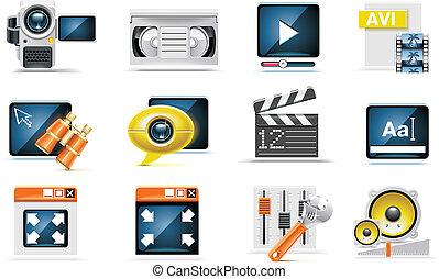 vecteur, ensemble, vidéo, icône