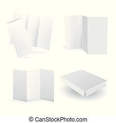 vecteur, ensemble, vide, isolé, papier, mockups, blanc