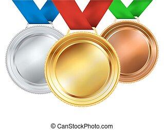 vecteur, ensemble, white., illustration, médailles